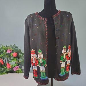 Vintage Christmas Sweater Small Nutcracker